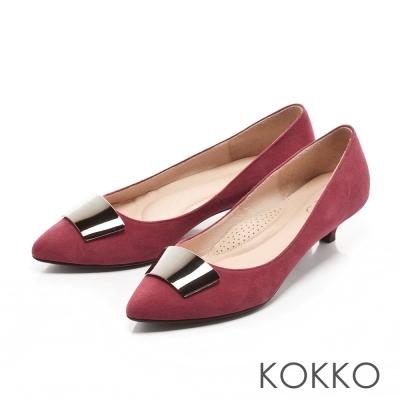 KOKKO-典雅黑曜金屬麂皮跟鞋-霧酒紅