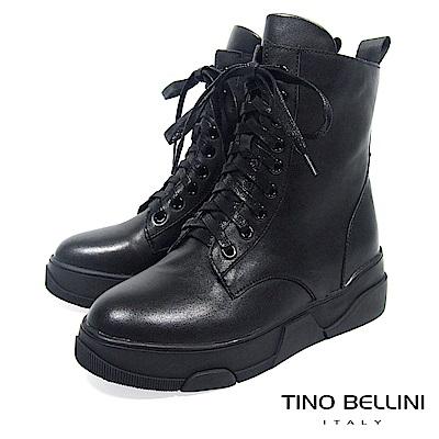 Tino Bellini中性話題舒適全真皮綁帶軍靴_ 黑