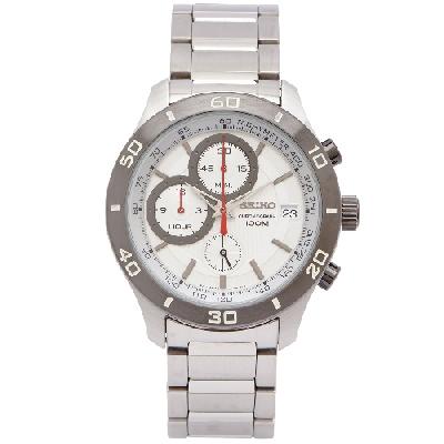 SEIKO 陽剛霸氣款計時手錶(SSB189P1 )-白面x銀色/42mm