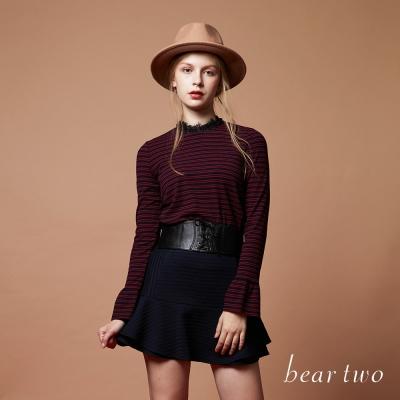 beartwo 蕾絲領口經典條紋針織上衣(二色)