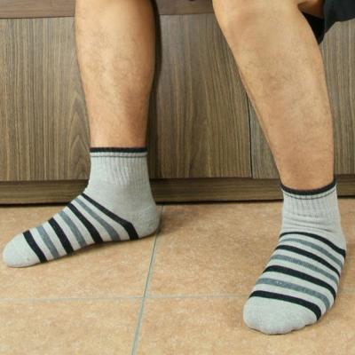 源之氣 竹炭條紋短統休閒運動襪/男女共用  6 雙組 RM- 30006
