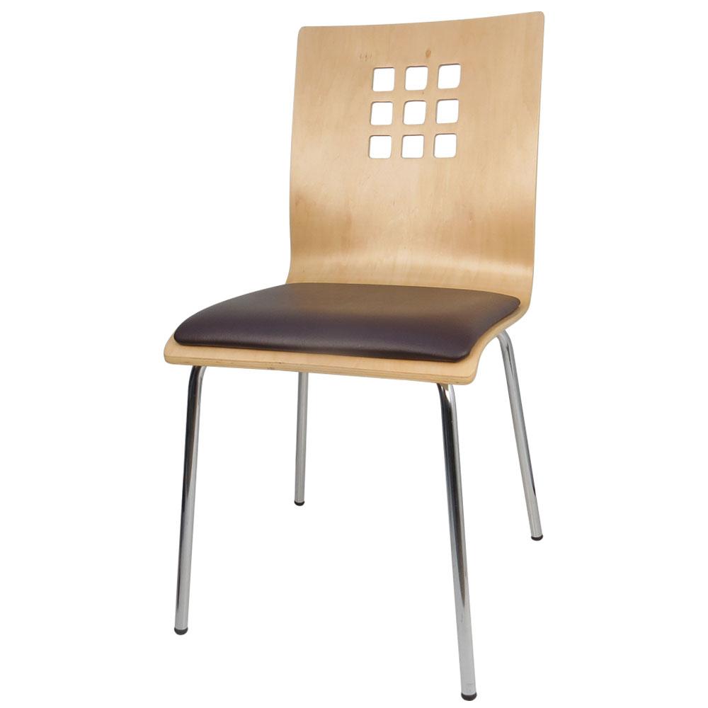 邏爵-禪美學2入曲木皮墊餐椅/洽談椅/四腳椅