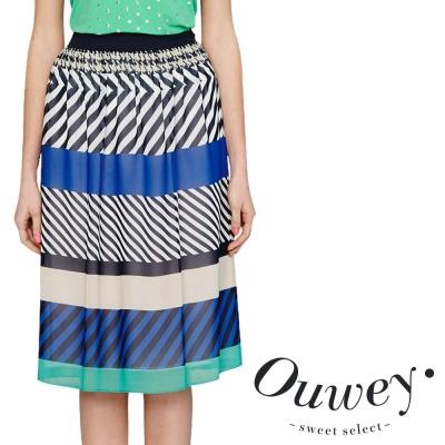 OUWEY歐薇-圖紋變化打摺雪紡長裙