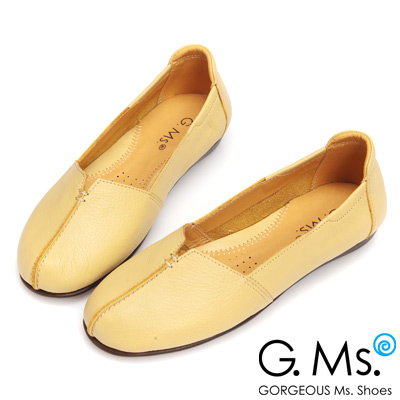 G.Ms. MIT系列-車縫簡約造型真皮娃娃便鞋- 優雅杏