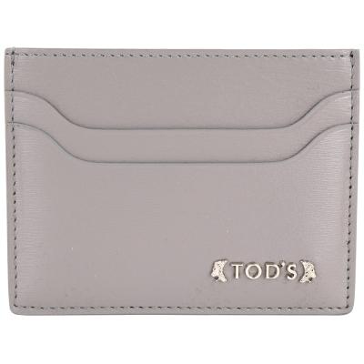 TOD'S Classic 浮刻金屬LOGO小牛皮萬用卡片夾(灰色)