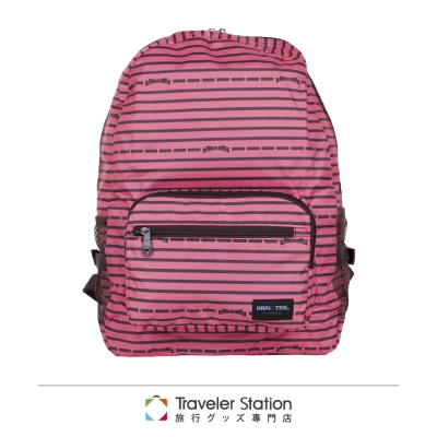 【HAPI+TAS】橫條蝴蝶結折疊後背包-粉色