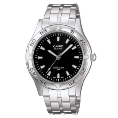 CASIO 時刻夜光時尚不鏽鋼腕錶(MTP- 1243 D- 1 A)-黑面/ 40 mm