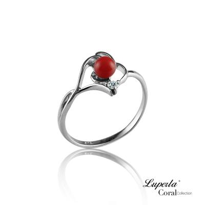 大東山珠寶 全紅珊瑚純銀戒指 福壽安康