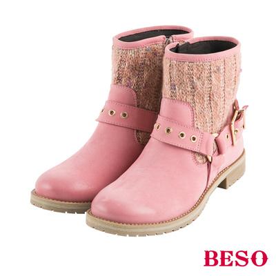 BESO街頭風潮 金屬飾釦拼接毛呢工程短靴~粉