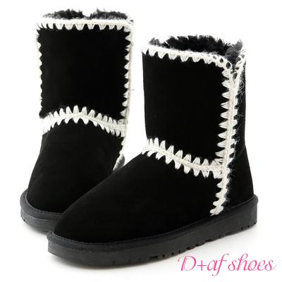 D+AF 好感滿分.毛線針織2way真皮中筒雪靴*黑