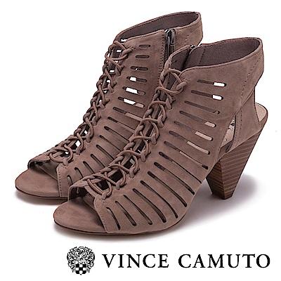 Vince Camuto 經典羅馬簍空高跟涼鞋-絨灰