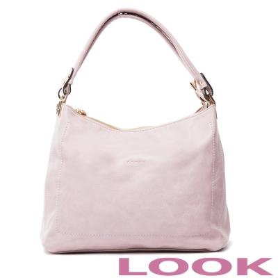 LOOK - Miya米亞 雙袋口肩背包-典雅粉
