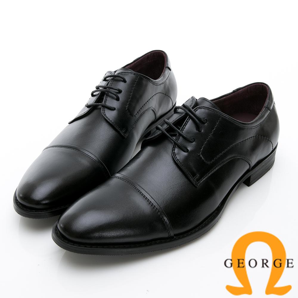 GEORGE 喬治-時尚職人系列 經典真皮小圓楦紳士鞋皮鞋-黑