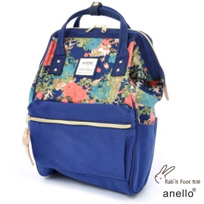 日本正版anello 棉質帆布後背包 深藍花朵 M
