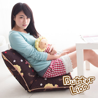 【奶油獅】正版授權 台灣製造-可拆洗搖滾星星胖胖和室椅-咖啡