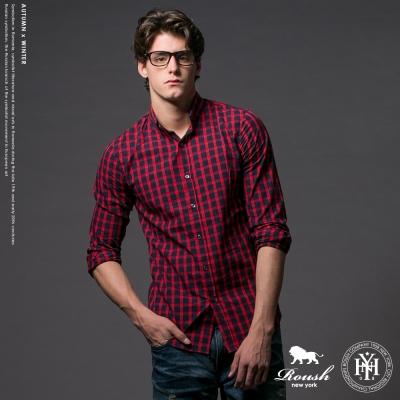 Roush (Slim Fit)韓版時裝法蘭絨小格紋襯衫 - (3色)