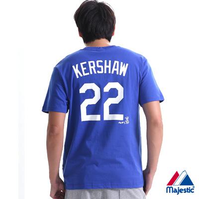 Majestic-道奇隊KERSHAW背號22號T恤-藍