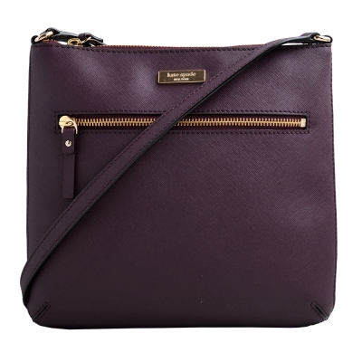 Kate spade 金LOGO飾牌防刮皮革斜背包-葡萄紫
