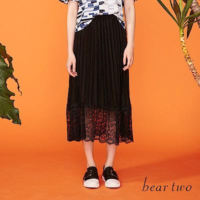 beartwo 花樣細緻蕾絲拼接百褶裙(二色)
