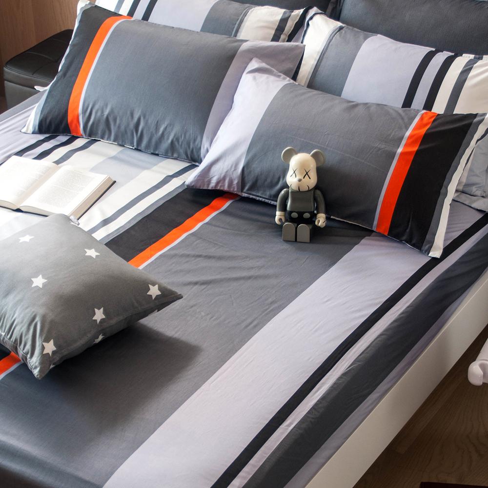 OLIVIA夏洛特灰雙人床包枕套三件組條紋床包