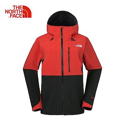 The North Face北面男款紅色-黑色防水透氣防風外套