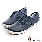Hush Puppies 質感真皮咖啡紗帆布鞋-深藍