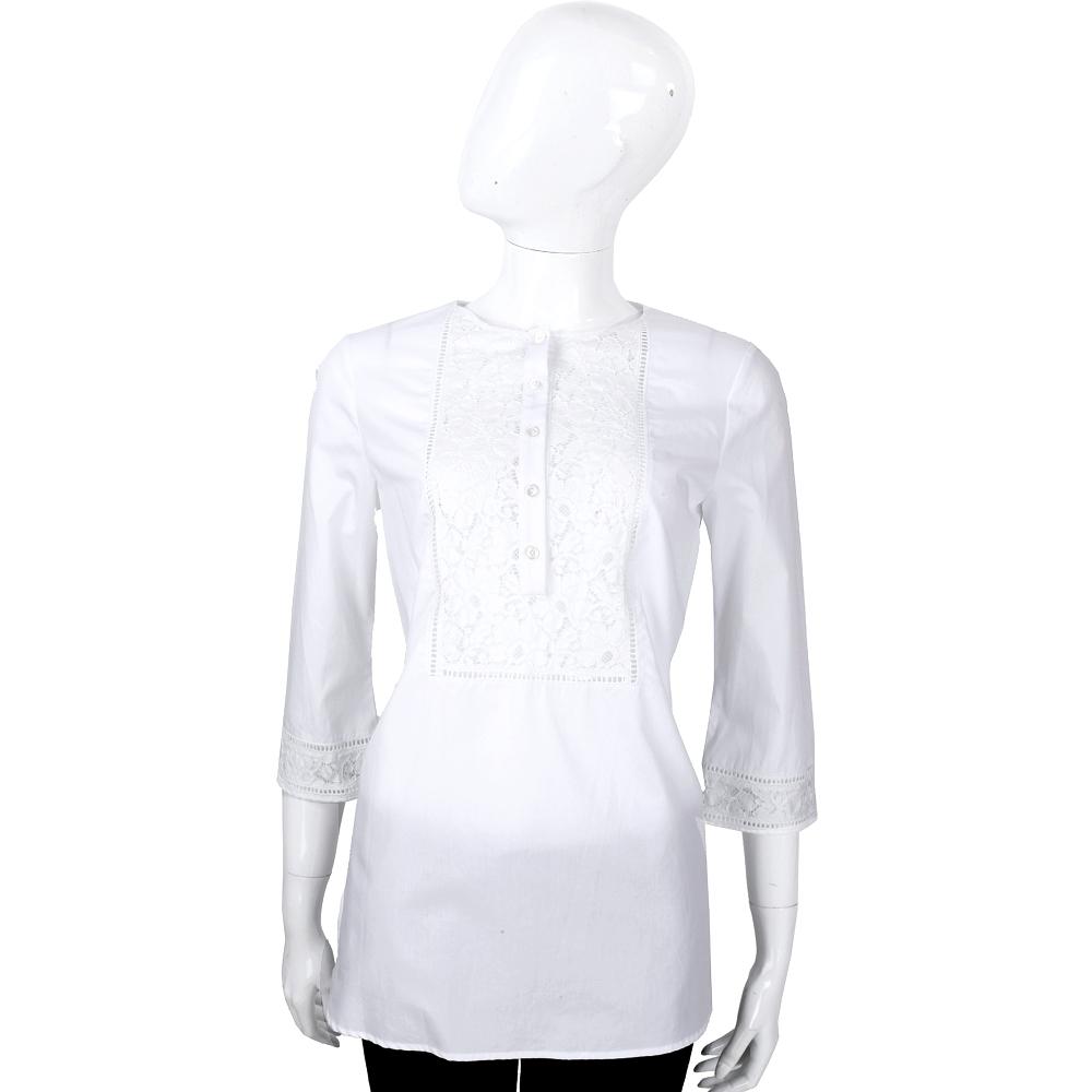 ERMANNO SCERVINO 白色織花蕾絲七分袖棉質上衣