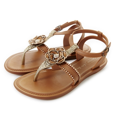 GRENDHA 華麗山茶花踝帶時尚平底涼鞋-焦糖色