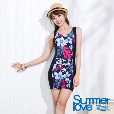 夏之戀SUMMER LOVE 比基尼泳衣 典雅印花連身四角泳衣 深藍色