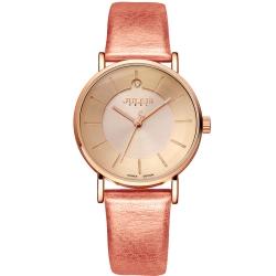 JULIUS聚利時 夏夜星辰點鑽皮革錶帶腕錶-珠光粉/31mm