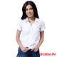 BOBSON  女款格狀提織紋襯衫 -白色 product thumbnail 1