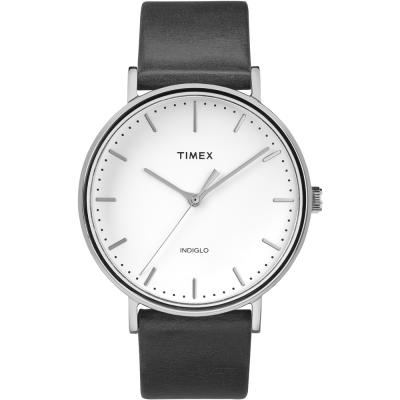 TIMEX 天美時 週末Fairfield系列 時尚手錶-銀框x深藍色帶/41mm