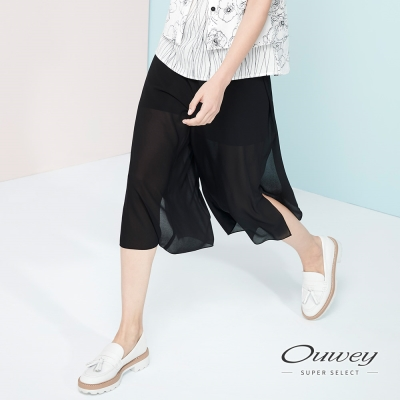 OUWEY歐薇-飄逸雪紡微透膚活片寬褲-黑