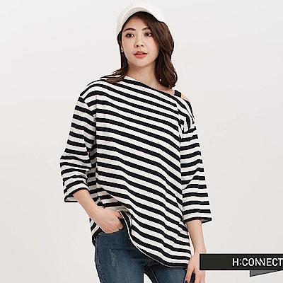 H:CONNECT 韓國品牌 女裝 - 斜肩條紋棉T-Shirt-深藍條
