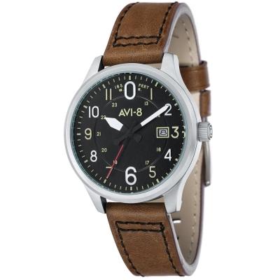AVI-8 飛行錶 HAWKER HURRICANE 潮流手錶-黑x棕色/43mm