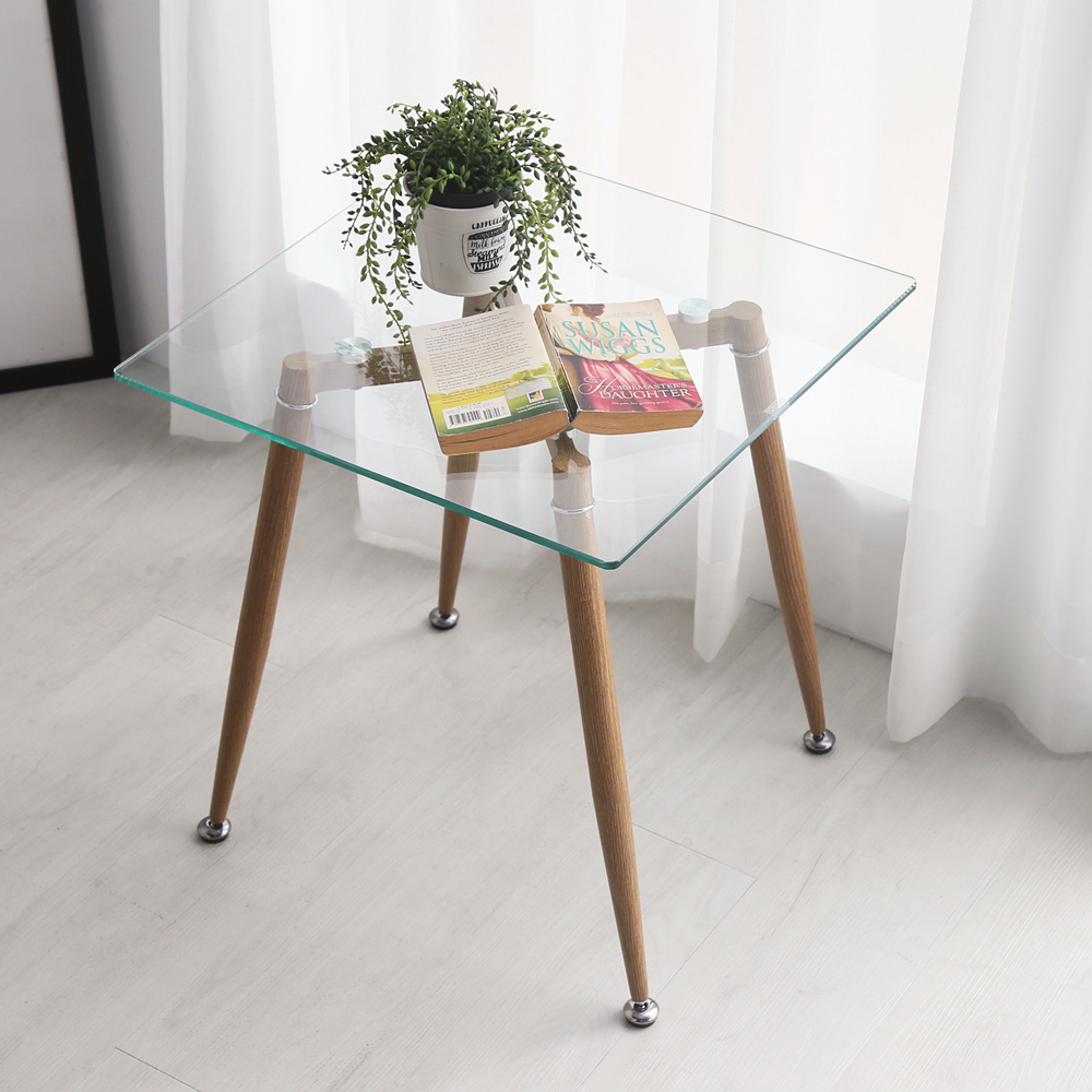 H&D Joanne 喬安現代風簡約玻璃邊桌_50*50*54.5cm