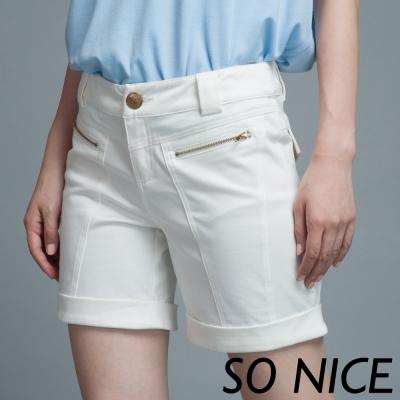 SO-NICE金屬拉鍊反摺短褲