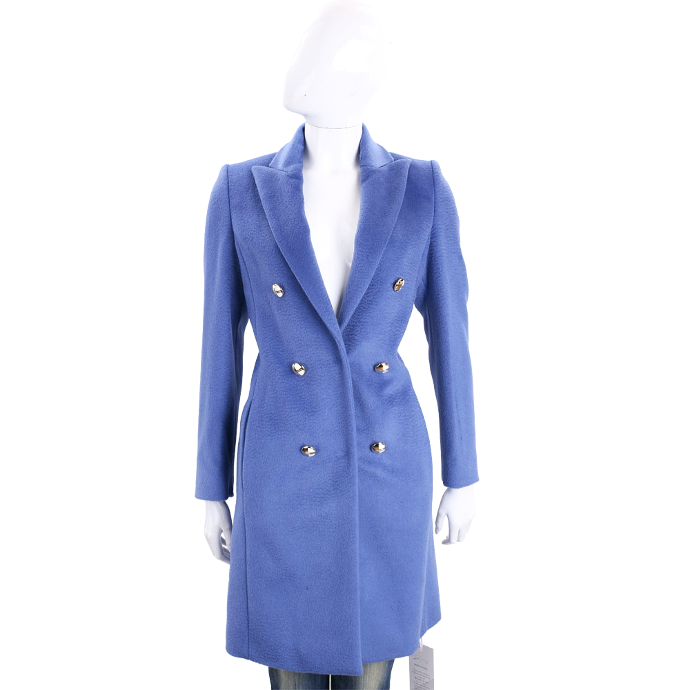 GENNY 藍色金釦裝飾馬海毛羊毛大衣(48%WOOL)