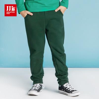 JJLKIDS 韓式素色內刷毛棉褲(綠色)