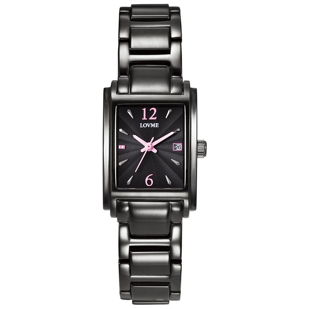 LOVME Delicate時尚腕錶-IP黑x粉/23mm