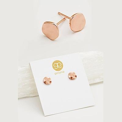 GORJANA 美國品牌 Chloe Stud 手工波浪紋圓形鑲18K玫瑰金耳環