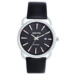GOTO 幾何極簡日期時尚手錶-黑x玫/38mm