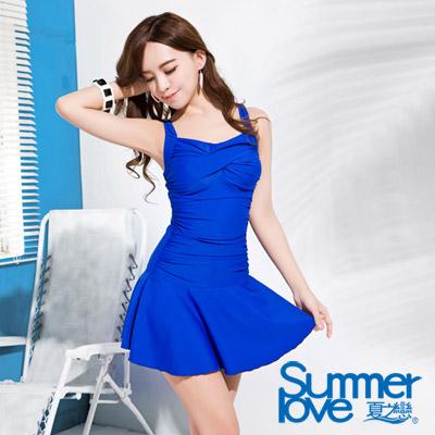 夏之戀SUMMERLOVE 比基尼泳裝 連身裙泳衣 寶藍色