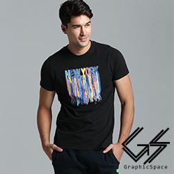 蠟筆混色線條字母磨毛水洗T恤(共三色)-GraphicSpace
