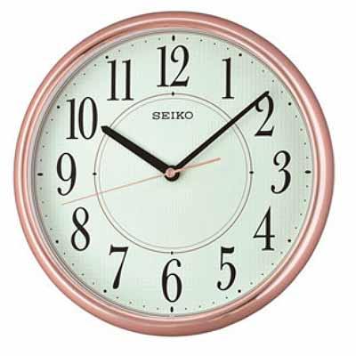 SEIKO 日本精工 夜光掛鐘 時鐘(QXA671P)-玫瑰金框/28cm