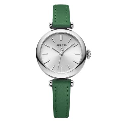 JULIUS聚利時 平行時空簡約皮錶帶腕錶-復古綠/28mm