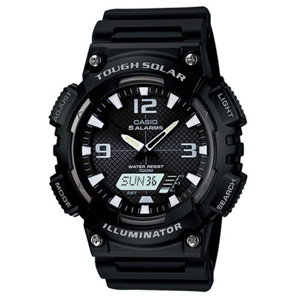 CASIO 新一代光動遊俠雙顯運動錶(AQ-S810W-1A)-黑x白指針/46.6mm