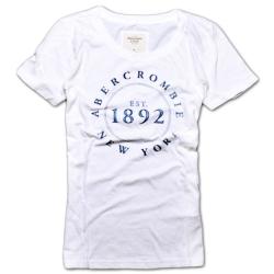 A&F Abercrombie & Fitch 印花純棉圓領短袖T恤-白