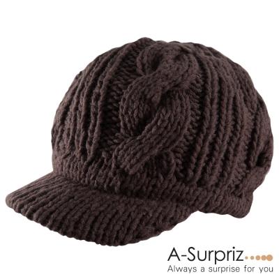 A-Surpriz 甜心麻花編織護耳貝蕾帽(深咖啡)