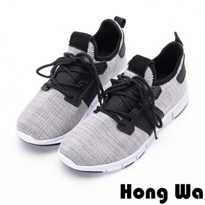 Hong Wa - 簡約素色運動休閒綁帶編織布鞋-灰